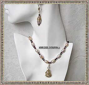 Signed 22K Sterling Pink Peach Pearl Necklace Pendant