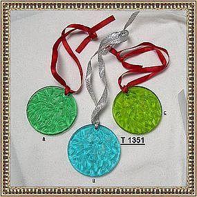 "Vintage Lalique ""R"" France Round Ornament 1989 or 1990"