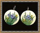 Vintage Satsuma Earrings Iris Blue Gold