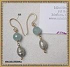 Mimi Dee 14K Gold Earrings Aquamarine White Pearls