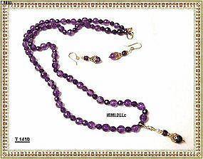 Signed Faceted 225 Carat Amethyst Necklace Pendant Set Sterling