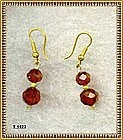 18K Gold Red Cherry Double Bead Earrings