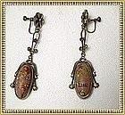Vintage Art Nouveau Art Glass Dangle Earrings Steere?