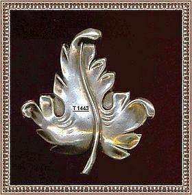 Vintage Joseff Sterling Silver Pin Leaf Heavy Holloware