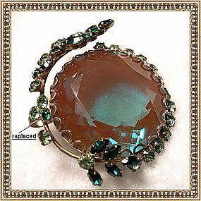 Bold Vintage Saphiret Pin Brooch 40mm Art Glass Stone
