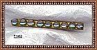 Vintage Saphiret Bar Pin 1900 Art Glass Cabs Gold Gilt