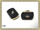 Vintage Antique Victorian Black Pearl Cuff Links Cufflinks GF
