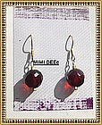 18K Gold Red Faceted Bead Earrings Faceted 11mm