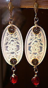 Sterling Etched Opal Floral Art Glass Faceted Red Earrings