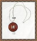 Sterling Silver Pendant Necklace Carnelian Dog Imprint