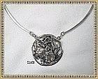 Vintage Signed Modernist Sterling Necklace Hammered