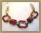 Vintage 14K Gold Art Deco Carved Carnelian Bracelet