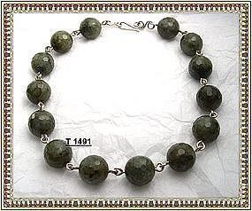 Signed Faceted Labradorite Sterling Silver Necklace 700