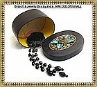 Signed 'Victorian' Long Black Glass Brooch Jewelry Box