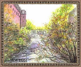 Signed Painting of Local River Dam Falls Watercolor