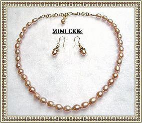 Handknotted Pink Peach Pearl Strand Necklace Filigree Earring
