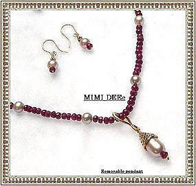 Auction Ruby Gems Lavender Pink Pearl Strand Earring 3 pc Set