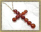 Antique Victorian Carved Honey Amber Cross Necklace Gold Gilt