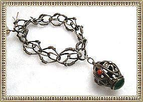 Vintage Unsigned Peruzzi Bracelet 800 Silver w Charm