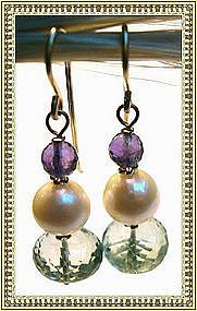14K Gold Green Amethyst Akoya Pearl Earrings