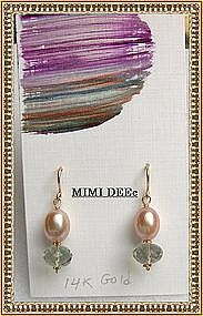 14K Gold Green Amethyst Peach Pearl Earrings Mimi Dee