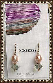 14K Gold Green Amethyst Peach Pearl Earrings Mimi Dee