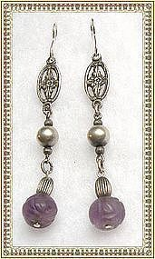 Vintage Sterling Silver Carved Amethyst or Jadeite Earrings