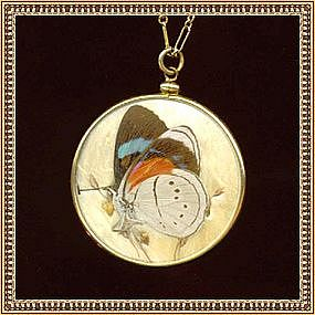 Vintage 1910 Butterfly Wing Double Side Glass Necklace