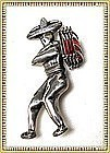 Vintage Pre Assay Sterling Silver Mexican Man Pin Fig
