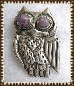 Vintage C 1940 Mexico Silver Owl Pin Amethyst Eyes