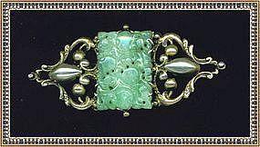Vintage Signed Peruzzi Boston Sterling Pin Pierced Jadeite
