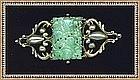 Vintage Peruzzi Boston Sterling Pin Pierced Jadeite