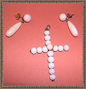 Antique Victorian Cross Angel Skin Coral