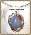 Signed Sterling Blue Chalcedony Pendant, Collar Opt.