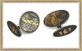 Vintage Signed Silver Japanese Damascene Cufflinks