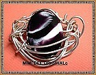 Signed Sterling Handwrought Pin Brooch Art Glass