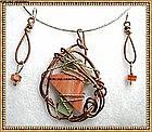 Signed Hammered Copper Sterling Slag Glass Necklace Set