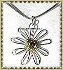 Signed USA Sterling Silver Studio Necklace Flower