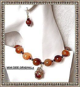 Signed Carnelian Necklace Earring Set / Pendant Extra