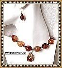 Signed Carnelian Necklace Earring Set + Pendant Extra
