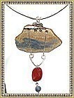 Signed Sterling Sculpture Necklace Ceramic Pendant Gems