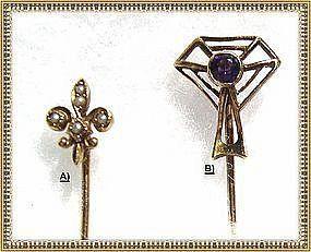 Vintage 14K Gold Stick Pin Duo, Signed Kirby, Fleur de