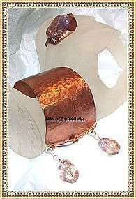 Signed Studio Handwrought Hammered Copper Sterling Bracelet