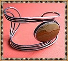 Vintage Sterling Silver Picture Jasper Cuff Bracelet