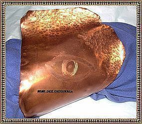Signed Studio Handwrought Hammered Copper Face Sculpture