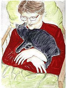 Signed Watercolor Drawing Portrait Painting Lady Kitten