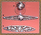 "Vintage Arts  Crafts Sterling Pearl Pin Ring Trio  ""CC"""