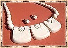 Vintage Carved Ivory Necklace Earrings Set Pre Ban Mod