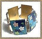 Vintage Cloisonne Rectangle Link Bracelet Flower Power