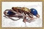 Signed Studio Bold Copper Lapis Ring Presentation Box